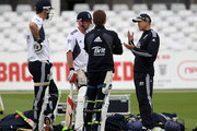 Andy Flower the England coach has a chat with Kevin Pietersen, Paul Collingwood and Eoin Morgan during the England nets session at Trent Bridge on July 28, 2010 in Nottingham, England.