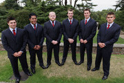 (L-R) Leicester Tiger players Ben Youngs, Manu Tuiliagi, Dan Cole, Tom Croft, Louis Deacon and Toby Flood of England pose during the England Rugby World Cup 2011 Squad announcement at Penny Hill Park on August 22, 2011 in Bagshot, England.