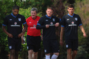 Glen Johnson, England manager Roy Hodgson, Wayne Rooney and Steven Gerrard look on during the England training session on May 29, 2012 in London Colney, England.