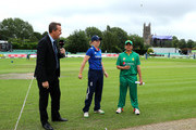 Captains Heather Knight of England (c) and Sana Khan of Pakistan (r) conduct the toss during the second Women's Royal London ODI match between England and Pakistan at New Road on June 22, 2016 in Worcester, England.
