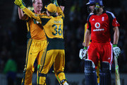 Brett Lee of Australia congratulates Tim Paine after he run out Luke Wright of England during the 1st NatWest One Day International between England and Australia at The Brit Oval on September 4, 2009 in London, England.