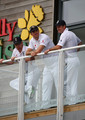 Kevin Pietersen, Andrew Strauss and Paul Collingwood of England look on from the balcony prior to play during day four of the npower 1st Ashes Test Match between England and Australia at the SWALEC Stadium on July 11, 2009 in Cardiff, Wales.