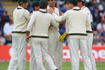 Mitchell+Johnson in England v Australia - 1st npower Test Day Two