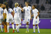 (CHINA OUT) Jill Scott #6 of England celebrates with the team after the match between England and Australia during the 2015 Yongchuan Women's Football International Matches at Yongchuan Sports Center on October 27, 2015 in Yongchuan, Chongqing of China.