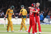 Luke Wright (R) of England celebrates the wicket of Tim Paine of Australia with Andrew Strauss during the 2nd NatWest One Day International between England and Australia at Lord's on September 6, 2009 in London, England.