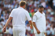 Steve Harmison of England talks to Andrew Flintoff during day three of the npower 5th Ashes Test Match between England and Australia at The Brit Oval on August 22, 2009 in London, England.