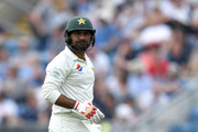 Pakistan captain Sarfraz Ahmed leaves the field after being dismissed by James Anderson of England during the 2nd NatWest Test match between England and Pakistan at Headingley on June 1, 2018 in Leeds, England.