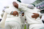 Pakistan captain Sarfraz Ahmed speaks to his team in the huddle ahead of day three of the 2nd NatWest Test match between England and Pakistan at Headingley on June 3, 2018 in Leeds, England.