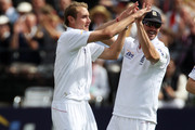 Stuart Broad (L) of England celebrates the wicket of Yasir Hameed of Pakistan with Kevin Pietersen during day three of the 4th npower Test Match between England and Pakistan at Lord's on August 28, 2010 in London, England.