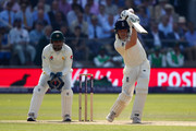 Dom Bess of England bats as Sarfraz Ahmed keeps wicket during day three of the 1st Test match between England and Pakistan at Lord's Cricket Ground on May 26, 2018 in London, England.