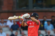 Joe Root of England plays a shot and is caught out by Shoaib Malik of Pakistan during the NatWest International T20 match between England and Pakistan at Old Trafford on September 7, 2016 in Manchester, England.