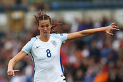 Jill Scott of England  in action during a UEFA Women's European Championship Qualifier match between England and Serbia at Adams Park on June 4, 2016 in High Wycombe, England.