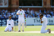 Imran Tahir of South Africa reacts to a missed opportunity during day two of the third Investec test match between England and South Africa at Lord's Cricket Ground on August 17, 2012 in London, England.
