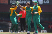 Imran Tahir of South Africa celebrates taking the wicket of Stuart Broad of England during the  2011 ICC World Cup Group B match between England and South Africa at the M. A. Chidambaram Stadium on March 6, 2011 in Chennai, India.