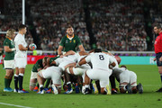 Ben Youngs of England (L) prepares to throw the ball in under the scrum as Billy Vunipola of England waits at the back during the Rugby World Cup 2019 Final between England and South Africa at International Stadium Yokohama on November 02, 2019 in Yokohama, Kanagawa, Japan.