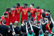 Romelu Lukaku of Belgium talks to his teammates during a team huddle prior to the 2018 FIFA World Cup Russia group G match between England and Belgium at Kaliningrad Stadium on June 28, 2018 in Kaliningrad, Russia.