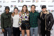 (L-R) Actors Khylin Rambo, Dylan Sprayberry, Shelley Hennig, Tyler Posey and Cody Christian pose backstage during Entertainment Weekly's PopFest at The Reef on October 30, 2016 in Los Angeles, California.