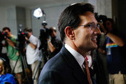 House Majority Leader Eric Cantor (R-VA) departs a news conference after telling the Republican caucus that he will resign his post at the U.S. Capitol June 11, 2014 in Washington, DC. Cantor announced that he will resign his leadership position in the House of Representatives on July 31 after losing a primary race to Tea Party-backed college professor David Brat.