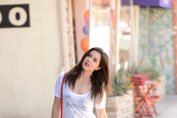 """Erica Dasher Celebrities Spotted Wearing """"Over Sharing is Under Rated"""" Tee In Los Angeles"""