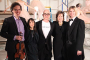 (L-R) Tim Fain, Erickson Beamon jewelry designer Karen Erickson, Stephen Petronio;  Erickson Beamon jewelry designer Vicki Beamon and Jeffrey Palmer pose for photos during the Erickson Beamon Fall/Winter 2011 Presentation at Milk Studios on February 13, 2011 in New York City.