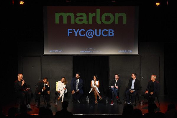 Universal Television's FYC @ UCB - 'Marlon' - Panel [marlon wayans,michael yo,christopher moynihan,bresha webb,diallo riddle,essence atkins,michael rotenberg,fyc @ ucb,event,stage,design,performance,convention,night,company,performing arts,universal television,panel]