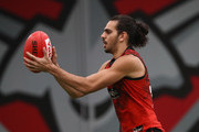 Jake Long of the Bombers controls the ball during an Essendon Bombers AFL training session at the Hangar on May 9, 2018 in Melbourne, Australia.