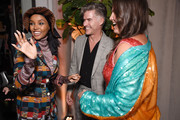 Halima Aden, Eric Rutherford  and Candice Huffine attend the Etihad Airways cocktail party during NYFW: The Shows at Spring Studios on September 10, 2019 in New York City.
