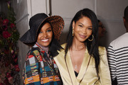 Halima Aden and Chanel Iman attend the Etihad Airways cocktail party during NYFW: The Shows at Spring Studios on September 10, 2019 in New York City.