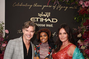 Eric Rutherford, Halima Aden and Candice Huffine attend the Etihad Airways cocktail party during NYFW: The Shows at Spring Studios on September 10, 2019 in New York City.