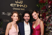 Bambi Northwood Blyth, Etihad Chief Operating Officer, Mohammed Al Balooki and Montana Cox attend the Etihad Airways cocktail party during NYFW: The Shows at Spring Studios on September 10, 2019 in New York City.