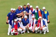 Team Europe pose with the trophy after winning the EurAsia Cup 2016 presented by DRB-HICOM at Glenmarie G&CC on January 17, 2016 in Kuala Lumpur, Malaysia.