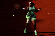 Serena Williams of USA plays a forehand during her Women's Singles fourth round match against Elena Rybakina of Kazakhstan on day eight of the 2021 French Open at Roland Garros on June 06, 2021 in Paris, France.