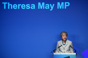 Britain's Prime Minister Theresa May addresses guests during a speech to mark the start of London Tech Week where she announced that global tech companies plan to invest £1bn in the UK on June 10, 2019 in London, England. Today marks the official beginning of the contest to find a replacement for Theresa May as both Prime Minister and leader of the Conservative Party. Mrs May will serve as Prime Minister until her successor has been decided, following her official resignation on June 7, 2019.