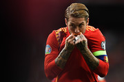 Sergio Ramos of Spain celebrates after scoring his team's first goal during the UEFA Euro 2020 qualifier match between Spain and Sweden at Bernabeu on June 10, 2019 in Madrid, Spain.