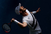 Andy Murray of Great Britain serves the ball during his Men's Singles first round match against Yoshihito Nishioka of Japan on Day Two of the 2020 US Open at the USTA Billie Jean King National Tennis Center on September 1, 2020 in the Queens borough of New York City.