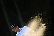 Justin Rose of England plays his second shot on the 16th hole during Day Three of the BMW PGA Championship at Wentworth Golf Club on September 21, 2019 in Virginia Water, United Kingdom.
