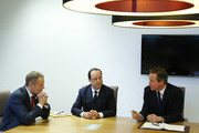 (L-R) Poland's Prime Minister Donald Tusk, France's President Francois Hollande and Britain's Prime Minister David Cameron speak during a meeting to discuss the situation in Ukraine at the European Union Council Building on March 6, 2014 in Brussels, Belgium. The EU leaders are attending an emergency summit in Brussels to decide how they should respond to the deployment of Russian troops in the Crimea. Russian forces have been on the ground in the Crimea since the change of government in Kiev when President Viktor Yanukovych was forced from power.