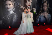 """Angelina Jolie (L) and Elle Fanning attend the European Premiere of Disney's """"Maleficent: Mistress of Evil"""" at Odeon IMAX Waterloo on October 09, 2019 in London, England."""