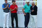 (L-R) Ulrich Van den Berg of South Africa, Daniel Im of the USA and Adrian Otaegui of Spain with Vice Chairman of the European Tour, Angel Gallardo after all finishing jointly on -18 under par during the final round of the European Tour Qualifying School Final at PGA Catalunya Resort on November 19, 2015 in Girona, Spain.