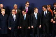 (Bottom L-R)  President of Lithuania, Dalia Grybauskaite, President of France, Francois Hollande, Turkish Prime Minister Ahmet Davutoglu, European council president, Donald Tusk and Prime Minister of the Netherlands, Mark Rutte are pictured during the family photo call at The European Council Meeting In Brussels held at the Justus Lipsius Building on March 7, 2016 in Brussels, Belgium.  EU leaders are meeting with Turkish Prime Minister Ahmet Davutoglu in Brussels, to discuss the worst refugee crisis since the Second World War, as thousands of migrants remain stranded in Greece after borders along the Balkan route to Germany are closed.