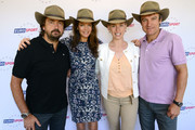 (L-R) Henri Leconte, Annabel Croft, Barbara Schett and Mats Wilander wearing their Akubra Hats during the Eurosport tennis panel of experts at Hilton on the Park on January 15, 2013 in Melbourne, Australia.
