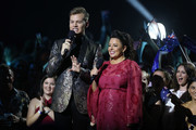 Myf Warhurst and Joel Creasey host during Eurovision - Australia Decides at Gold Coast Convention and Exhibition Centre on February 09, 2019 in Gold Coast, Australia.