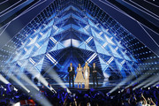 Hosts Assi Azar, Lucy Ayoub, Bar Refaeli and Erez Tall on stage during the 64th annual Eurovision Song Contest held at Tel Aviv Fairgrounds on May 18, 2019 in Tel Aviv, Israel.