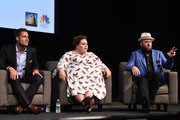 """Justin Hartley, Chrissy Metz and Chris Sullivan attend a panel discussion for An Evening With """"This Is Us"""" at Paramount Studios on August 13, 2018 in Hollywood, California."""