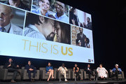 "Dan Fogelman, Milo Ventimiglia, Mandy Moore, Sterling K. Brown, Susan Kelechi Watson, Justin Hartley, Chrissy Metz and Chris Sullivan attend a panel discussion for An Evening With ""This Is Us"" at Paramount Studios on August 13, 2018 in Hollywood, California."