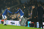 Ademola Lookman of Everton replaces Aaron Lennon of Everton as substitute during the Premier League match between Everton and Swansea City at Goodison Park on December 18, 2017 in Liverpool, England.