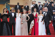 """(L-R) Penelope Cruz, wearing jewels by Atelier Swarovski Fine Jewelry, actor Ricardo Darin, actress Sara Salamo, actress Carla Campra, actress Elvira Minguez, Barbara Lennie, Inma Cuesta, Producer Alvaro Longoria and Cannes Film Festival Director Thierry Fremaux attend the screening of """"Everybody Knows (Todos Lo Saben)"""" and the opening gala during the 71st annual Cannes Film Festival at Palais des Festivals on May 8, 2018 in Cannes, France."""
