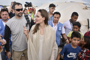 United Nations High Commissioner for Refugees (UNCHR) Special Envoy Angelina Jolie greets refugees during her visit to a refugee camp in the border between Colombia and Venezuela on June 8, 2019 in Maicao, Colombia. UN and International Organization for Migration (IOM) announced yesterday that 4 million of Venezuelans have left their country since 2015 due to the social, political and economic crisis, which means they are of the single largest population groups displaced from their country globally. The camp in Maicao has 60 tents  which can accommodate up to 350 people. Due to high demand, UNHCR is considering an expansion to give shelter to 1,400 people. Colombia it the top host of Venezuelan migrants and refugees, accounting 1.3 million.