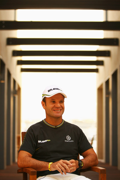 Rubens Barrichello of Brazil and Brawn GP is interviewed in the paddock during previews to the Abu Dhabi Formula One Grand Prix at the Yas Marina Circuit on October 29, 2009 in Abu Dhabi, United Arab Emirates.