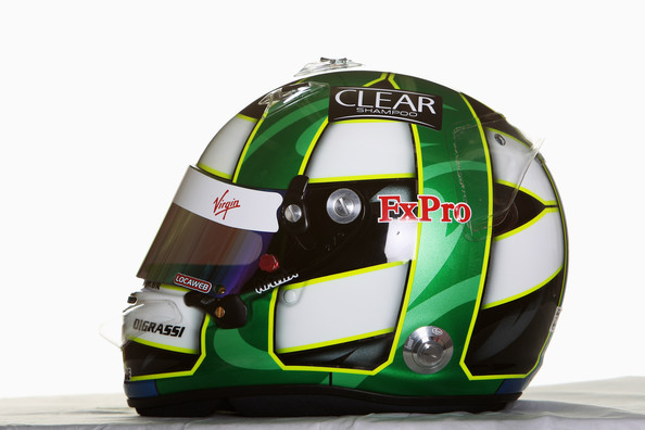 The drivers helmet of Lucas Di Grassi of Brazil and Virgin GP is seen during Formula One winter testing at the Circuit De Catalunya on February 26, 2010 in Barcelona, Spain.